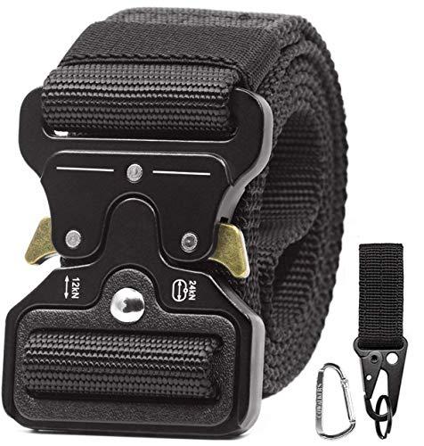 CoWalkers Cinturón táctico de, estilo militar Correa de cintura de nylon de alta resistencia Cinturón de servicio pesado con hebilla de metal de liberación rápida para hombres...