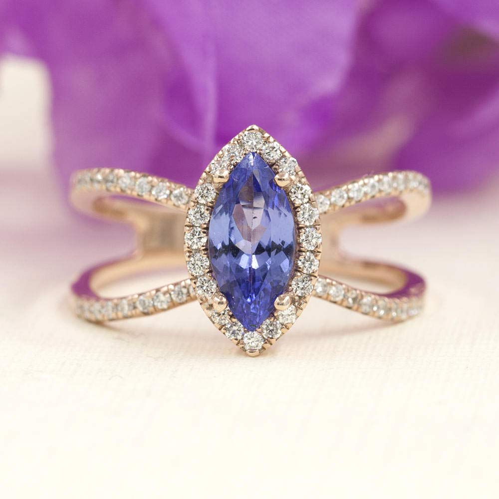 Tanzanite Diamond Engagement Excellence Ranking TOP8 Ring Tanzanit Quality Marquise AAA