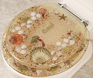 SEASHELL AND SEAHORSE RESIN TOILET SEAT - STANDARD SIZE, BEIGE