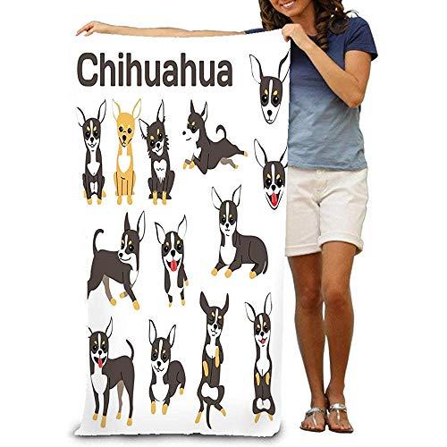 Badhanddoek Cool Zacht Strandhanddoek 80X130CM Handdoek Chihuahua Hond Actie Gelukkige Hond Chihuahua Hond Poses Hond Ras