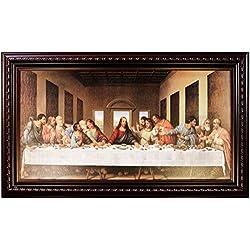 Mom's Art Studio - Last Supper Wall Decor 45 X 26.5 Inches, Leonardo Da Vinci Reproductions, Museum Look Art Framed, Artist's Acrylic Coating, Wall Art for Home Decor (Red Oxide)