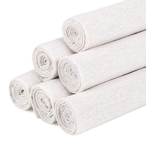 Caydo 6 piezas de tela de lino blanco natural para trabajos de costura, tela para prendas de vestir, decoración de macetas o manteles, de 50 x 50 cm
