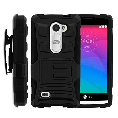 Phone Case for Lg Sunset LTE / Power L22c / Destiny L21g (Straight Talk) / Lg Leon LTE (T-mobile) Black Edge Cover Kickstand Combo Holster Belt Clip for Lg Tribute-2 (Boost Mobile) / Lg Risio (Cricket Wireless)