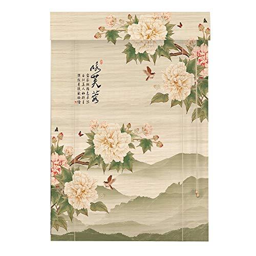 LIANGJUN Rideau De Bambou Couper Naturel Bande De Bambou Tisser Décoration De Fond Style Chinois Crème Solaire Salon Personnalisable (Couleur : B, taille : 135x225cm)