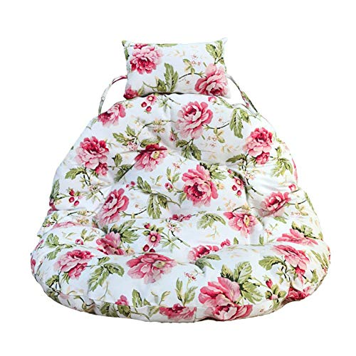 GYWY Hanging Basket Chair Cushion, Thick Round Swing Seat Cushion Chair Pad, Hanging Egg Hammock Chair Cushion with Pillow No Chair Removable,A