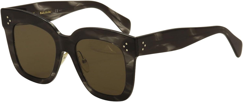 Celine CL 41444 0GQ QS Kim Havana Grey Plastic Square Sunglasses Brown Lens