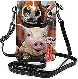 La moda del teléfono celular bolso de los animales de la granja selfie pequeña Crossbody bolsos de las mujeres de la niña de la pu bolso de hombro bolso