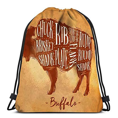 Drawstring Backpack Buffalo Cutting Scheme Lettering Chuck Brisket Shank Rib Plate Flank Sirloin...