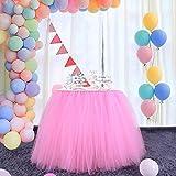 DishyKooker - Gonna da tavolo in tulle con tutù, con adesivo magico, 91,4 x 78,7 cm, per feste, matrimoni, baby shower e decorazione per la casa, colore: Rosa
