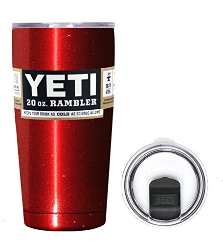 YETI Coolers 20 Ounce (20oz) (20 oz) Custom Rambler Tumbler Cup Mug Bundle with New Magslider Spill Proof Lid (Red Metallic)