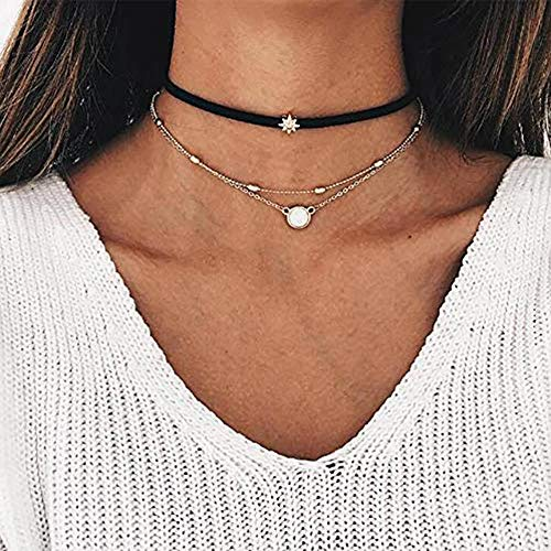 Anglacesmade Bohemia Layered Choker Necklace Star Choker Black Suede Choker Opal Necklace Sun Necklace Gold Beaded Chain Opal Charm Pendant Necklace Delicate Station Chain for Women and Girls