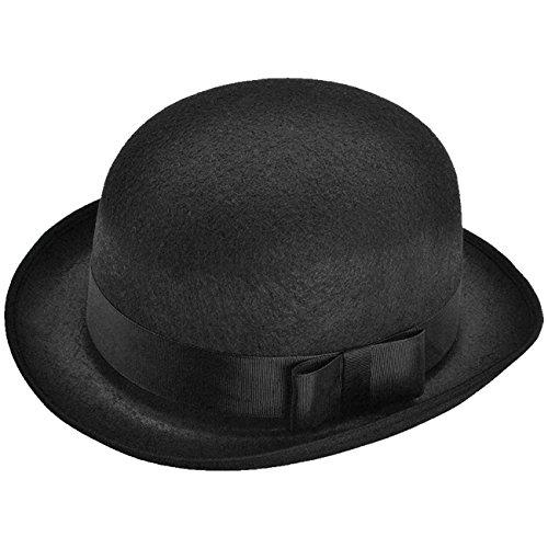 Schwarzer Bowler Hut für Hochzeiten Reiterhut Melone Butlerhut Faschingshut