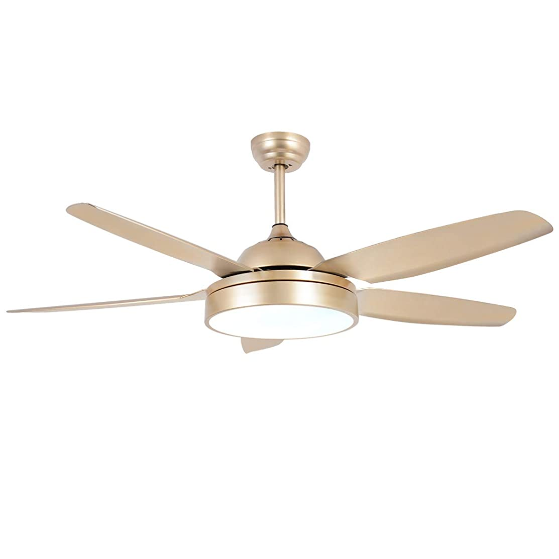 Ceiling Fan Chandelier with LED Light and 5 Blades Champagne Remote Control for Home Decoration Living Room Bedroom 52 Inch
