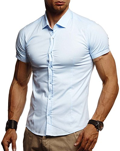 Leif Nelson Herren weißes Hemd Slim Fit Kurzarm Schwarzes Männer Stretch Kurzarmhemd Freizeithemd Jungen Kurzarmshirt Sommerhemd Business T-Shirt Freizeit Party LN3520 Hell Blau XX-Large
