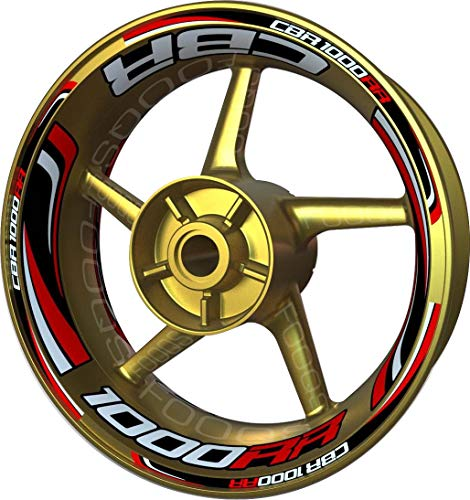 Motocicleta Moto Llanta Inner Rim Tape Decal Motocicleta Moto Llanta Inner Rim Tape Decal Pegatinas F2 para Honda CBR 1000 RR CBR1000RR 1000RR (Blanco/Rojo/Negro)