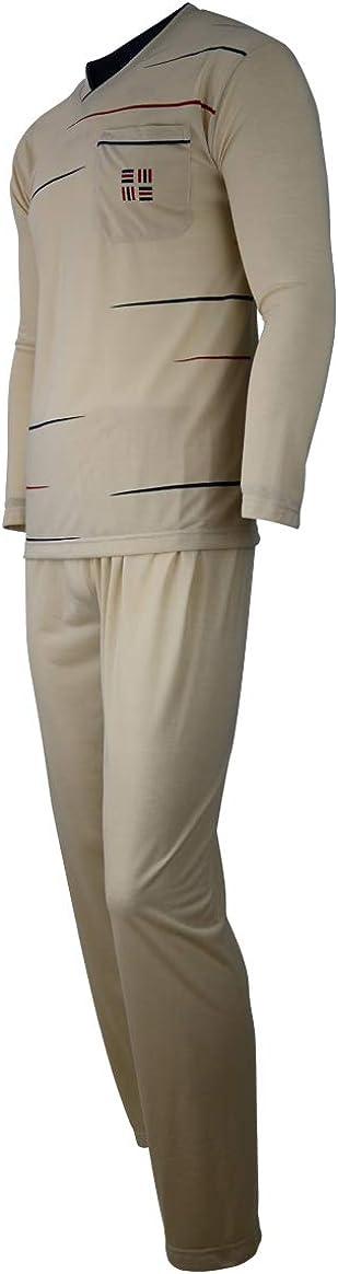 Pijama largo de dos piezas para hombre a juego Soltice M hasta XXXL ropa de dormir a rayas de 100 /% algod/ón