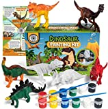 COASTLINE CRAFT Kids Crafts Dinosaur Painting Kit (Ages 3 and Up)  Paint Your Own Dinosaur Activity Kit w/ Kid-Safe Washable Paint, Brushes, T-Rex, Velociraptor, Triceratops, Stegosaurus and More