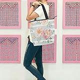 GIGIGIJY - Bolso grande para mujer, diseño floral, color rosa pálido, con cremallera, para mujer, con asa superior