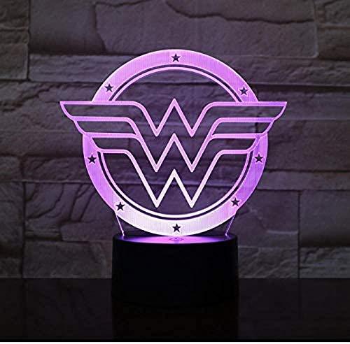 HUANGH LED Nachtlicht Illusion Lampe 3D Illusion Nachtlicht Anime Tischlampe (Wonder Woman), mit USB-Lade- und Fernbedienung