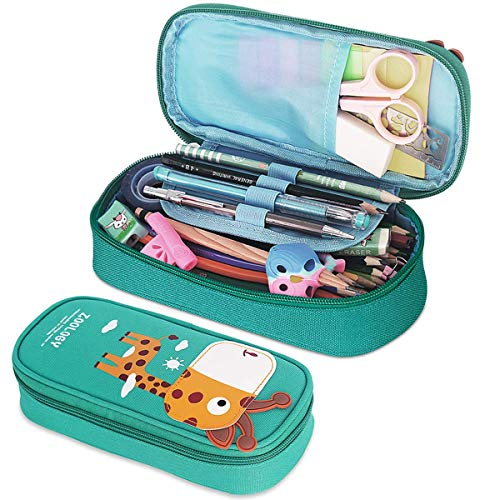 Pencil Case, Firesara Large Capacity Pen Case Pencil Bag Pouch Pen Pencil Marker Stationery Organizer with Zipper Big Storage Compartments for Teen Boys Girls Students School Office (Blue-Green)