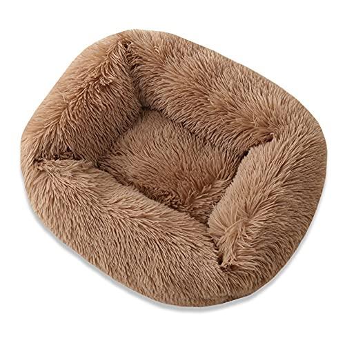jwj Nationwide - Cama cuadrada para gatos y mascotas, casa de perrera para mascotas, casa cálida y suave, felpa, cojín para cachorro, nido de mascotas para mascotas (color: marrón claro, tamaño: L)