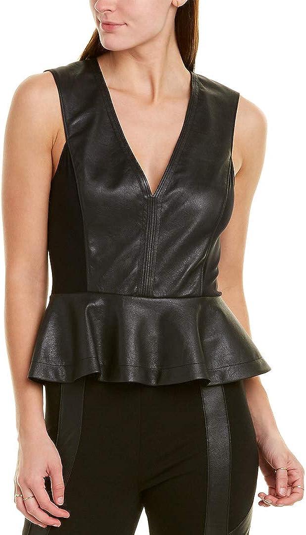 BCBGMAXAZRIA womens Faux Leather Peplum Bodysuit