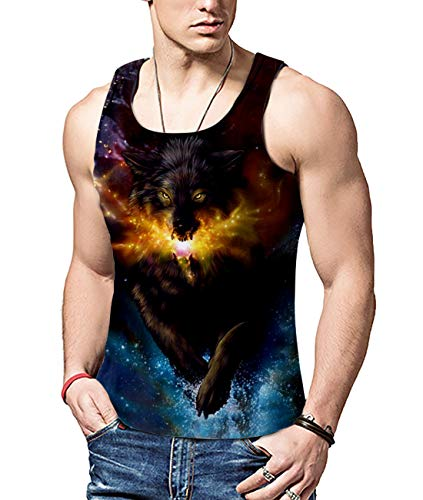ALISISTER Mens 3D Muster Galaxy Wolf Westen Fitness Workout Printed Tank Top Weste T-Shirt Sommer GymMuskelshirt L