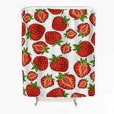 Erdbeere Duschvorhang Anti-Schimmel Wasserdicht Polyester Schöner Vorhang mit Haken für Badezimmer Weiß 120x200cm