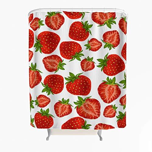 Erdbeere Duschvorhang Anti-Schimmel Wasserdicht Polyester Schöner Vorhang mit Haken für Badezimmer Weiß 200x200cm