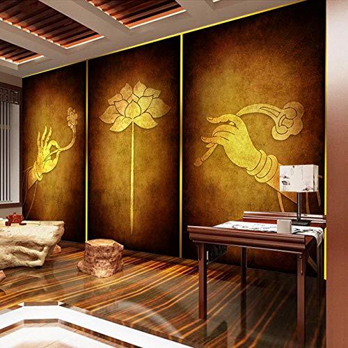 Bergamotte Lotus Wallpaper Thailand Thai Schönheitssalon Buddha Hall Wandbild Südostasiatischen Stil Dekorative Buddhismus Zen Wall fototapete 3d Tapete effekt Vlies wandbild Schlafzimmer-200cm×140cm
