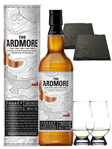 Ardmore Legacy Single Malt Whisky 0,7 Liter + 2 Glencairn Gläser + 2 Schieferuntersetzer quadratisch ca. 9,5 cm