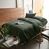 mixinni Luxury 3 Pieces Duvet Cover Set Queen Army Green 100% Natural Washed Cotton 1 Duvet Cover 2 Pillowcases Hotel Quality Ultra Soft with Zipper Ties for Men, Women, Boys and Girls-Full/Queen