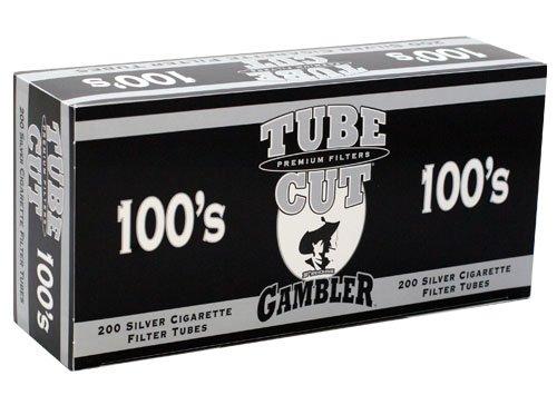 Gambler Tube Cut Silver 100mm RYO Cigarette Tubes 200ct Box (5 Boxes)