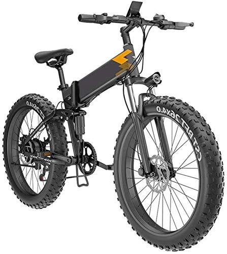 Bicicleta, bicicleta eléctrica plegable para adultos E-bicicletas de 26 pulgadas Neumáticos de 26 pulgadas Montaña Bicicleta eléctrica, bicicleta plegable Altura ajustable portátil con luz delantera L
