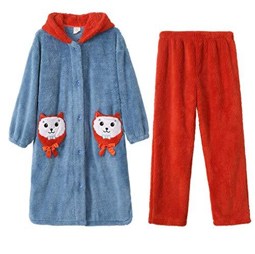 LEYUANA Conjunto de Pijama de Franela de Invierno para Mujer, Ropa de hogar de Manga Larga Gruesa cálida y Bonita L color5
