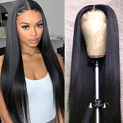 Mariska 4X4 Lace Front Wigs Human Hair Pre Plucked Brazilian Straight Human Hair Lace Closure Wigs for Black Women 150% Density Middle Part Human Hair Wigs (22inch, 4X4 lace closure wig)