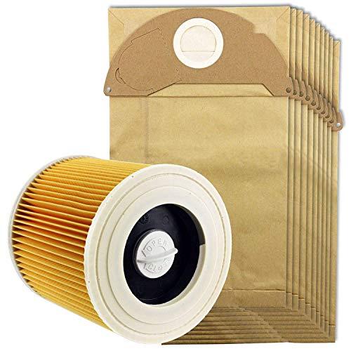QIBIN Recambios para aspiradora Karcher Wet&Dry Wd2 filtro y 10 bolsas de polvo
