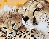 Pintura por números para Adultos niños y Principiantes Pintura por números en Lienzo - Leopardo de Madre e Hijo 40x50cm