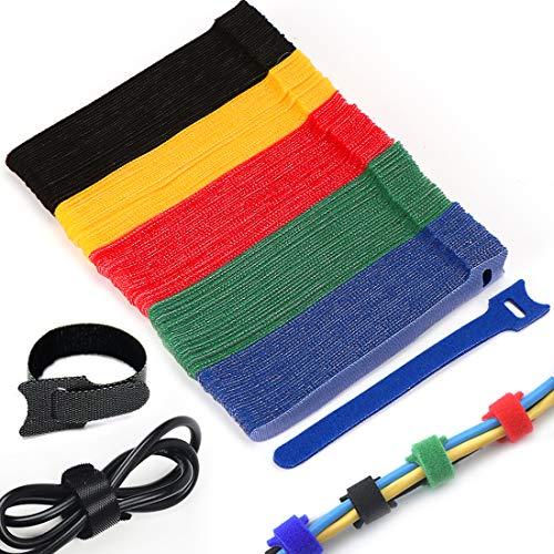 O-Kinee Kabel Klettband, 150 x 12 mm Kabelbinder Schwarz Klettverschluss Selbstklebend Kabelbinder Wiederverschließbar mit Hochwertigem Nylonmaterial (Farbe)