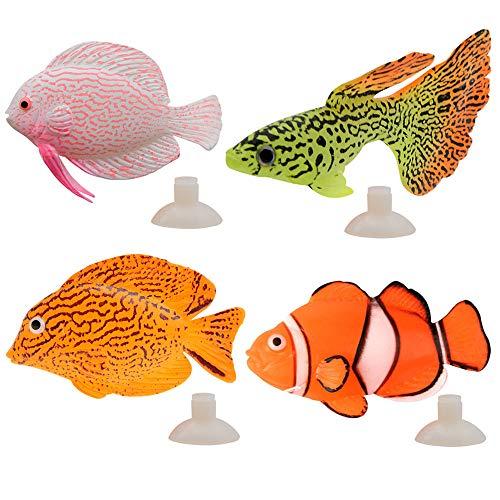 Wenxiaw Künstliches Goldfisch Aquarium Fake Aquarium Fische Aquarien Silikon Fische Mit Saugnapf Leuchtende Silikon Gefälschte Fische Künstliche Fische Dekoration für Aquarien, 4 Stücke