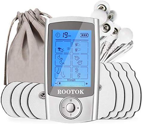 ROOTOK TENS/EMS Electroestimulador Digital, para aliviar el Dolor Muscular y el fortalecimiento Muscular, Masaje, Pantalla LCD, 2 Canales, 8 electrodos autoadhesivos, Color Plata