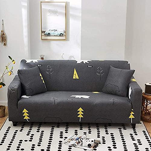 WLVG Sofabezug Stretch Elastic Fabric 1 2 3 4 Seaters Black Tree Bear Schonbezug für Couch Sessel rutschfeste Hunde Cat Pet Möbelschutz mit verstellbaren elastischen Trägern Easy Fit 90-140 cm