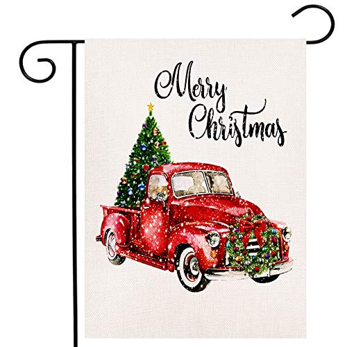 Merry Christmas Garden Flag Vertical Double Sided Tree Red Truck Merry Xmas New Year Burlap Yard Outdoor Decor Flag (12.5 x 18 Inches)