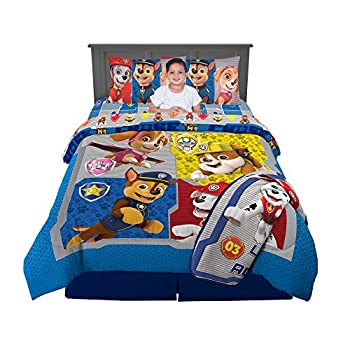 Nickelodeon Paw Patrol Super Soft Kids Bedding Set 6 Piece Full Size Includes Grey Leap Into Action Throw