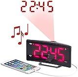 auvisio LED Funkwecker: Projektions-Radiowecker mit Curved-Display, Dual-Alarm & USB-Ladeport (Wecker Projektion)