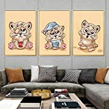ganlanshu Cartel de Animales de Bosque de Dibujos Animados Lindo para decoración de Dormitorio de niños,Pintura sin Marco,50x67cmx3
