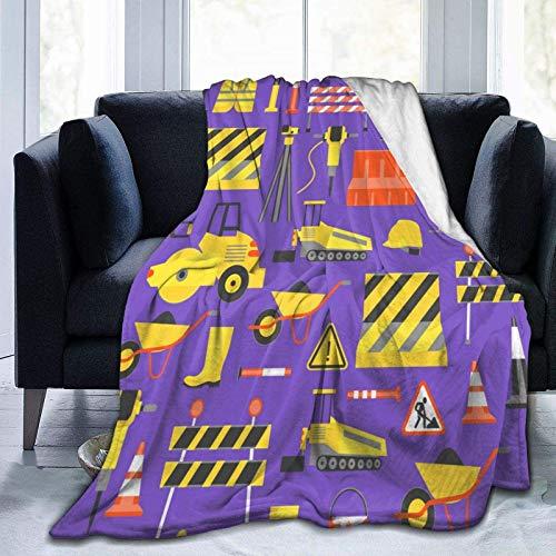 Manta de dibujos animados para construcción de carreteras, fondo de forro polar, manta plegable, sofá, sofá, manta difusa, reversible, de felpa, manta de playa para oficina en casa, 60 'x 50'
