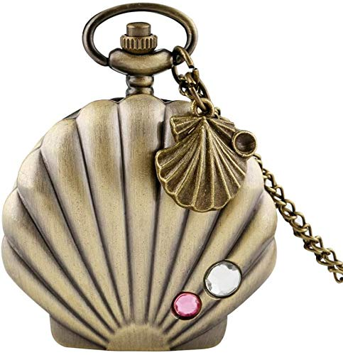 N / A Reloj de Bolsillo, Sirena de la Manera de Shell Reloj de Bolsillo único Metal Brillante Vieira Caja de Cristal Colgante, Collar de Reloj de Shell Accesorios