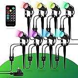 FESTLING - Gartenbeleuchtung LED – 8 Gartenlampen mit Erdspieß – 24W, 1800lm, IP65 – 40 Farben – Wasserdichte Gartenleuchte – Gartenstrahler