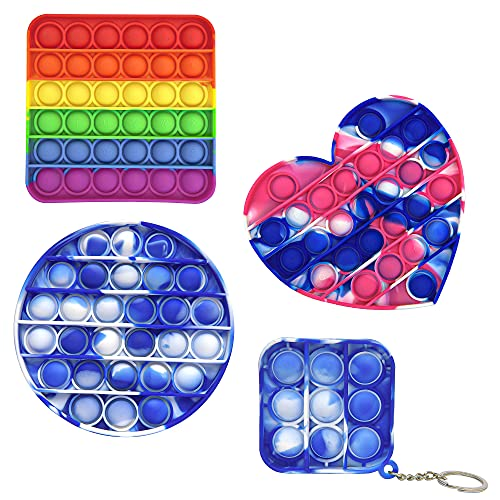 Toply Push Bubble Pop Fidget Sensory Toy Anxiety Stress Reliever Autism Learning Material for Kids Teens Adults - Pop Fidget Toy Square Round Heart Keychain in Tie-dye Rainbow Shades Pack of 4